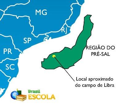 Mapa de localização da região do pré-sal e do Campo de Libra