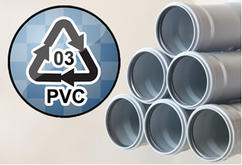 O símbolo de reciclagem dos materiais feitos do polímero PVC, como os tubos de encanamento, é o número 3 no centro de um triângulo feito por setas