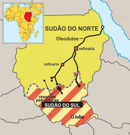 Mapa das estratégias, divisões e recursos do Sudão e Sudão do Sul