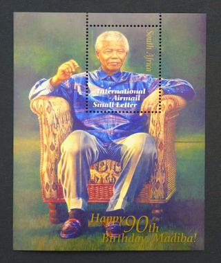 Selo sul-africano em homenagem aos 90 anos de Mandiba, um dos apelidos de Mandela