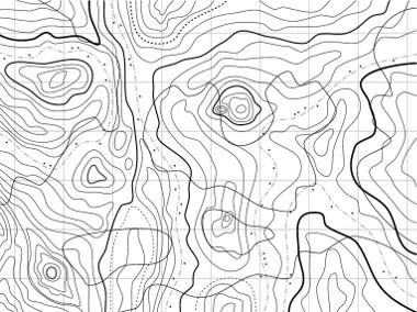 Exemplo de uma área maior representada em curvas de nível