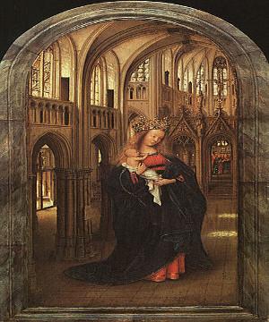 Madonna em uma igreja, de Jan van Eyck (1390-1441). É possível perceber na tela as características internas das edificações góticas