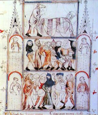 Ilustração medieval simbolizando um carnaval do período