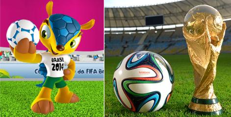 Mascote, bola e troféu da Copa