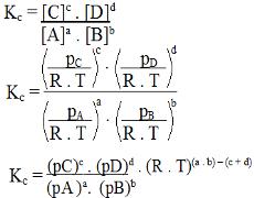 Parte da dedução da fórmula que traz a relação entre Kc e Kp
