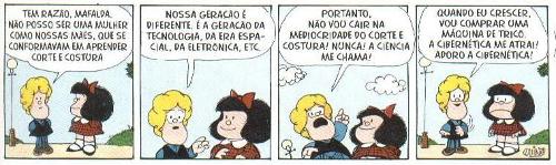 Mafalda foi criada no ano de 1962 pelo cartunista argentino Quino. Suas opiniões ácidas e irônicas é sua principal característica