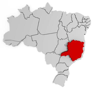 Mapa de localização do estado de Minas Gerais