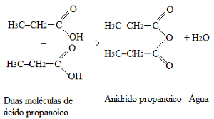 Reação de formação do anidrido propanoico