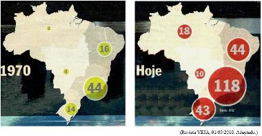 Crescimento das cidades médias brasileiras entre 1970 e 2010