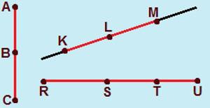 Os segmentos de reta AB e BC são adjacentes, assim como os pares de segmentos KL e LM, RS e ST e também ST e TU