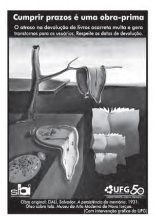 Cartaz afixado nas bibliotecas centrais e setoriais da Universidade Federal de Goiás (UFG), 2011