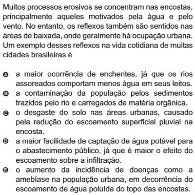 Questão sobre erosão em áreas urbanas
