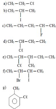 Exercícios sobre nomenclatura de haletos orgânicos