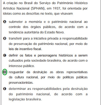 Alternativas relacionadas ao texto de Rodrigo Andrade.