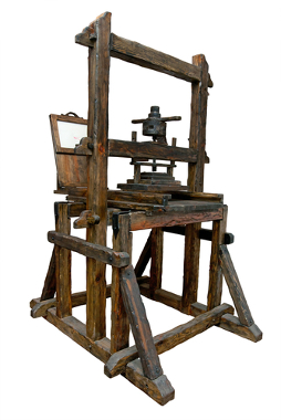 Modelo da máquina de impressão inventada por Gutenberg no século XV