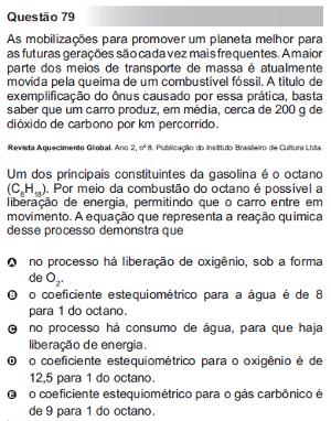 Questão 79 do Enem 2010 - caderno azul