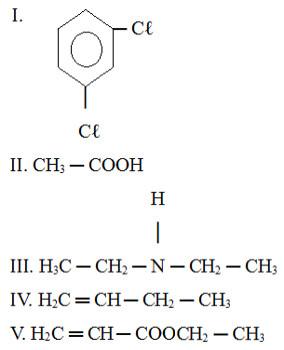 Alternativas com compostos orgânicos em exercício sobre nomenclatura IUPAC