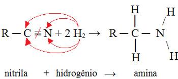 Reação com nitrila e hidrogênio