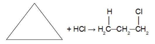 Reação de adição no ciclopropano utilizando ácido clorídrico
