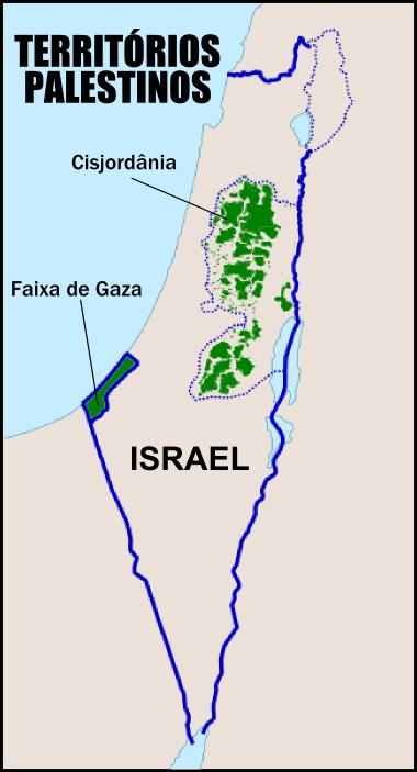 Mapa dos territórios palestinos na atualidade, com a Faixa de Gaza e a Cisjordânia *