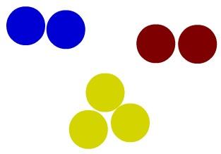 Representação de três substâncias simples por meio do modelo de Dalton
