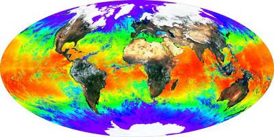 Imagem divulgada pela NASA. As áreas vermelhas apresentam maiores temperaturas