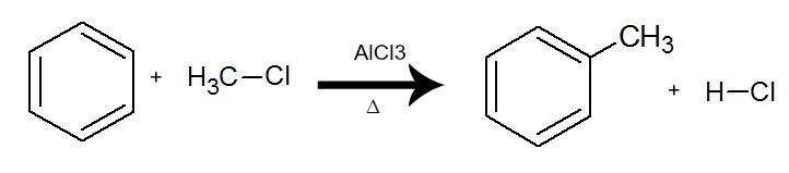 Equação que representa uma alquilação do benzeno pela utilização do cloro metano