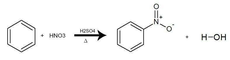 Equação que representa a nitração do benzeno pela utilização do ácido nítrico