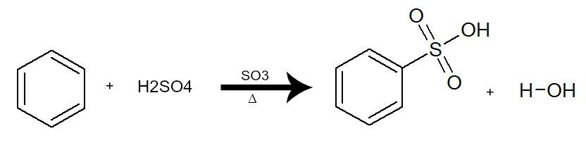 Equação que representa uma sulfonação do benzeno pela utilização do ácido sulfúrico