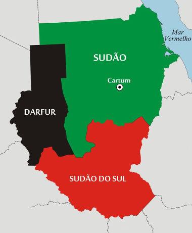 Mapa do Sudão, Sudão do Sul e da região de Darfur