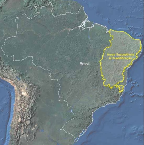 Mapa indicativo das áreas suscetíveis à desertificação no Brasil
