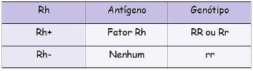 Observe o quadro acima com a genética do sistema Rh