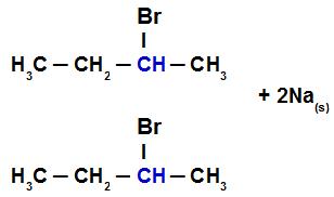 Reagentes da reação entre o 2-bromo-butano e o sódio metálico