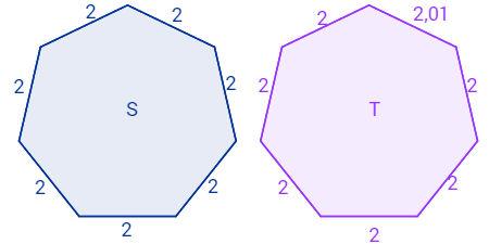 Exemplos de polígonos regulares e não regulares