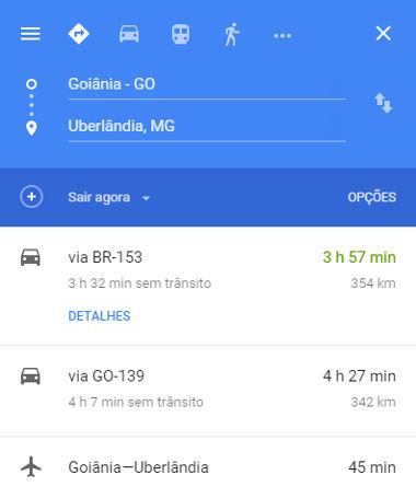 Valores fornecidos pelo Google Maps