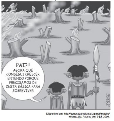 Charge sobre desmatamento - Enem