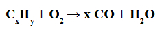 Exemplo de uma equação de combustão incompleta