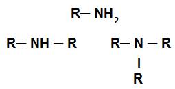 Exemplos de aminas com um, dois e três radicais