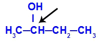 Carbono quiral em destaque no butan-2-ol
