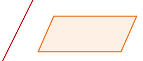 Ideia gráfica de uma parte da reta à esquerda e da parte de um plano à direita