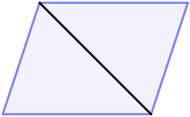 Paralelogramo dividido em dois triângulos por uma de suas diagonais
