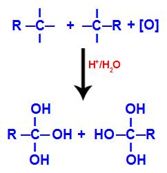 Formação do poliol com grupos hidroxila após a quebra da ligação tripla