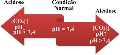 Esquema com os teores de pH normal e patológico
