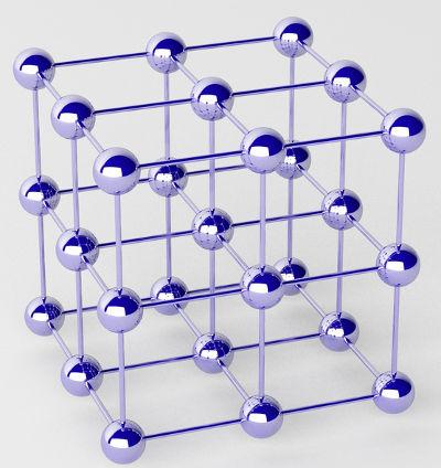 Representação do retículo cristalino de um metal