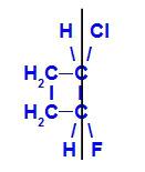 Fórmula estrutural do Z-1-cloro-2-flúor-ciclobutano