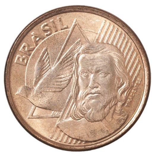 Moeda brasileira de cinco centavos com o rosto de Tiradentes estampado