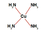 Representação da estrutura do complexo de cobre e amônia