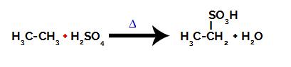 Equação química representando a sulfonação de um alcano de dois carbonos