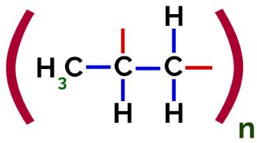 Representação do polímero PP