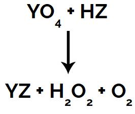 Equação da reação do superóxido com ácido inorgânico